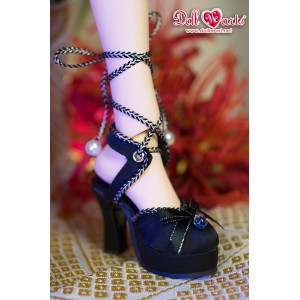 LS001452 Black Block Heel Strappy Sandals