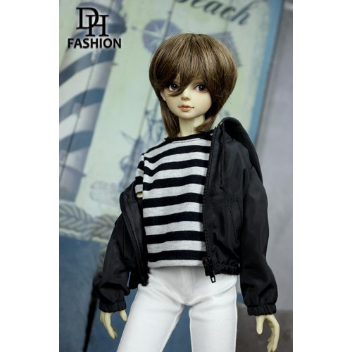 MD000378C  Black And Gray Striped...